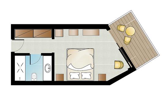 Pella Beach Double Guestroom Floorplan