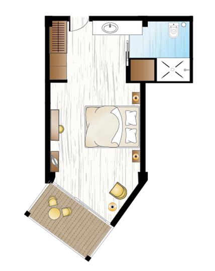 Pella Beach Superior Guestroom Floorplan